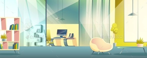 Office Working Cabinet Cartoon Vector Interior - Backgrounds Decorative