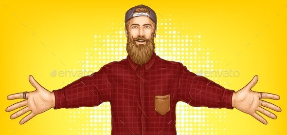 Hipster Man Raising Hands for Hugging Vector - People Characters