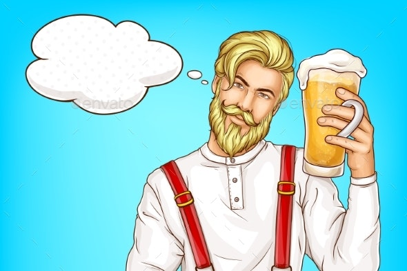 Hipster Man with Glass Full of Beer Cartoon Vector - People Characters