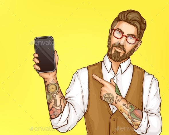 Hipster Man Pointing on Cellphone in Hand Vector - People Characters