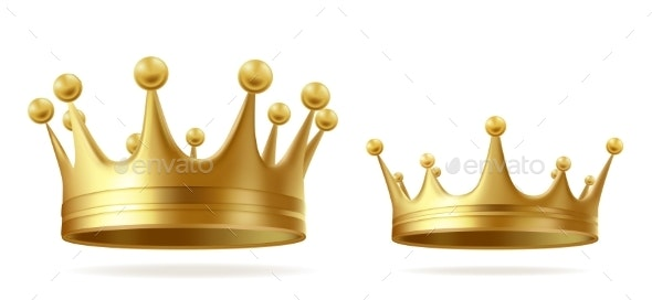 Golden Royal Crowns Realistic Vector Set - Man-made Objects Objects
