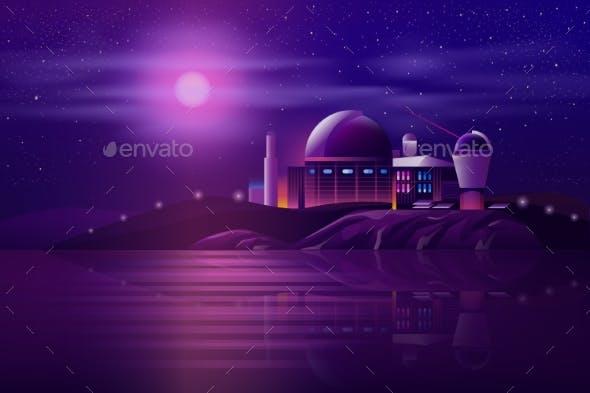 Astronomical Observatory Telescopes Cartoon Vector