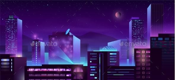Modern Metropolis Night Buildings Cartoon Vector - Buildings Objects
