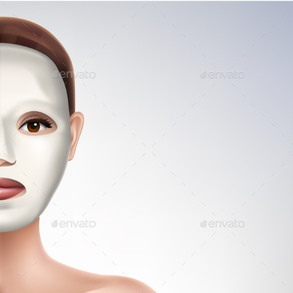 Moisturizing Face Mask on Womans Face Vector - Health/Medicine Conceptual