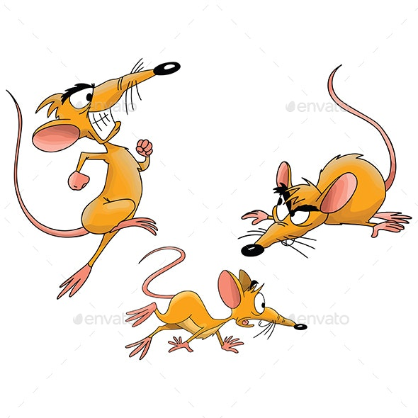 Different Poses of a Cartoon Mouse Vector - Animals Characters