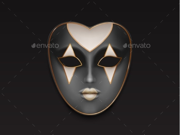 Female Carnival Full Face Mask Realistic Vector - Man-made Objects Objects