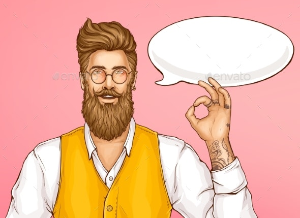 Hipster Man Showing Ok Sign Cartoon Vector - People Characters