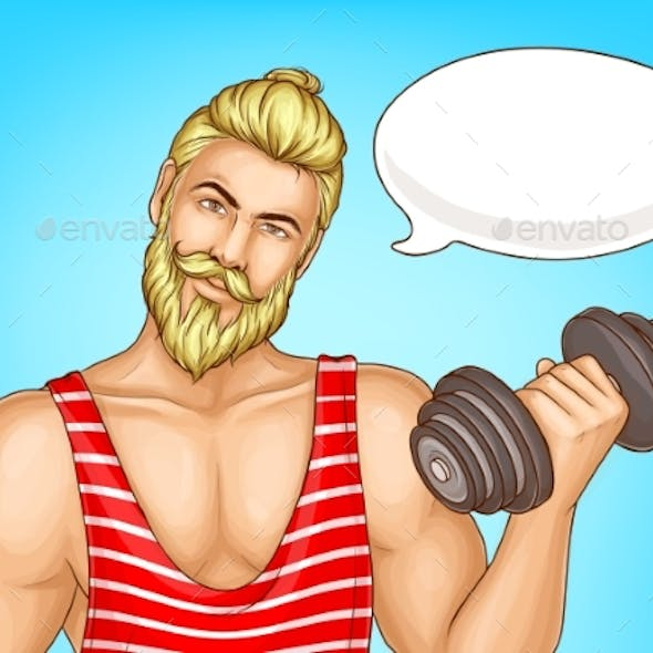 Man Doing Fitness Exercises Cartoon Vector Poster