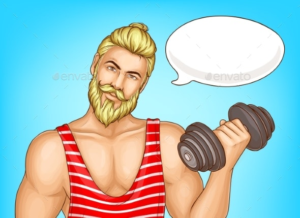 Man Doing Fitness Exercises Cartoon Vector Poster - People Characters