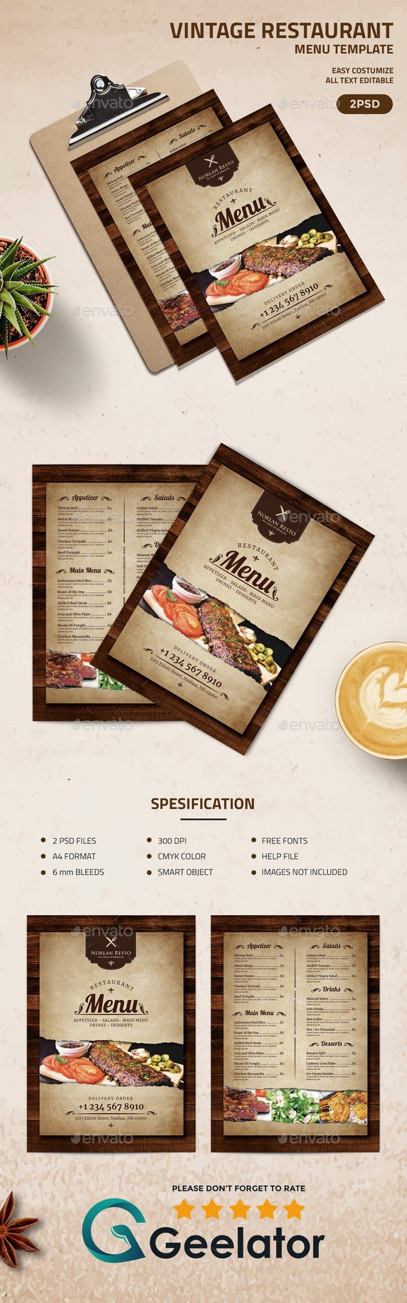 Vintage Restaurant Menu Template - Food Menus Print Templates