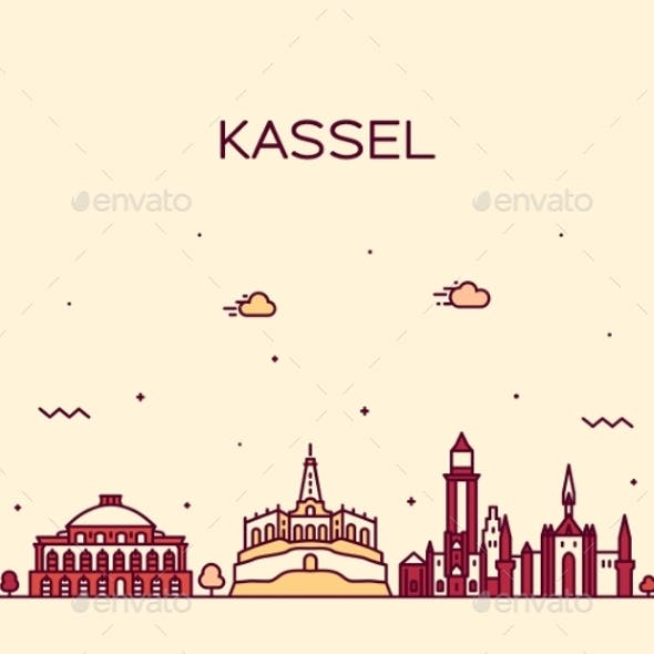 Kassel Skyline Northern Hesse Germany Vector Line