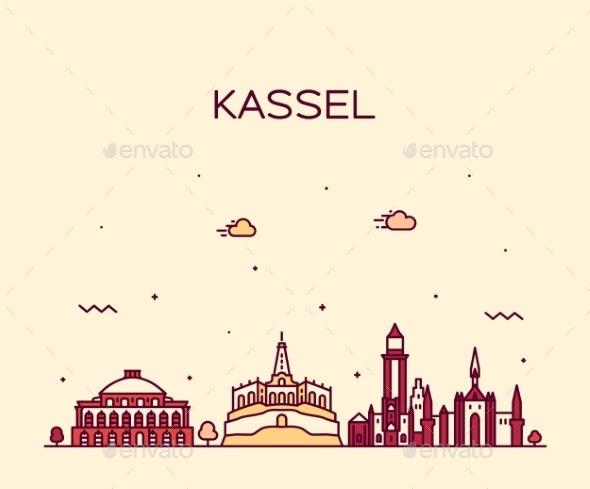 Kassel Skyline Northern Hesse Germany Vector Line - Buildings Objects