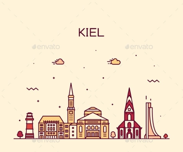 Kiel Skyline Schleswig Holstein Germany Art Vector - Buildings Objects