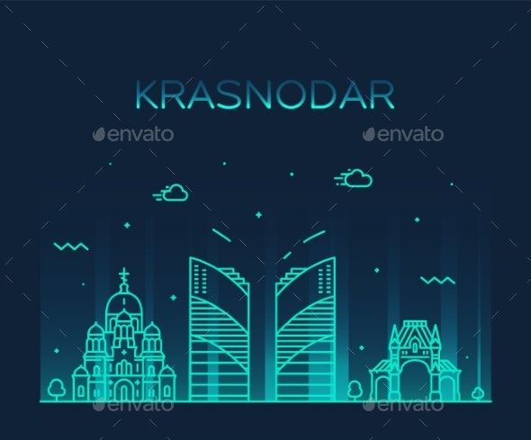 Krasnodar Skyline Krasnodar Krai Russia Art Vector - Buildings Objects