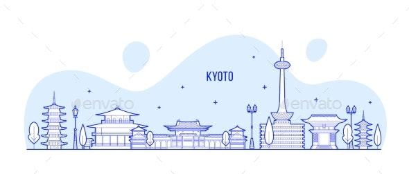 Kyoto City Skyline Tamil Nadu Japan City Vector - Buildings Objects