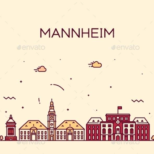 Mannheim Skyline Germany Vector City Linear Style