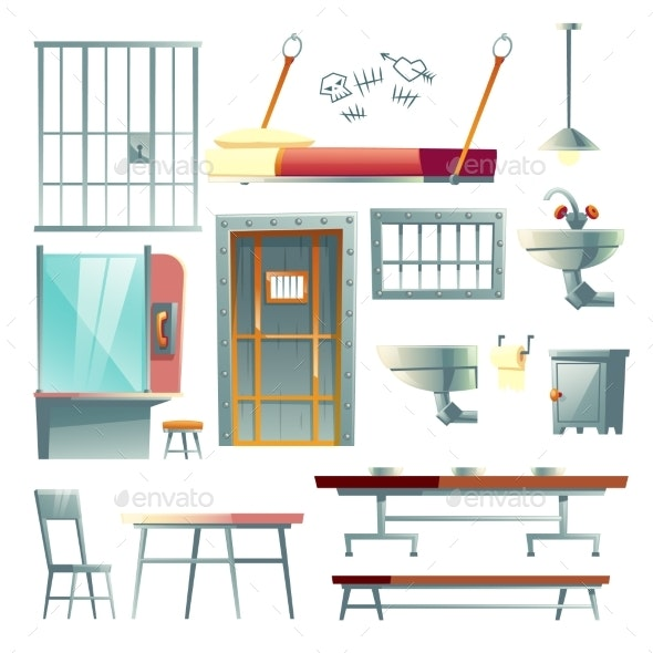 Prison Cell Interior Elements Cartoon Vector Set - Man-made Objects Objects