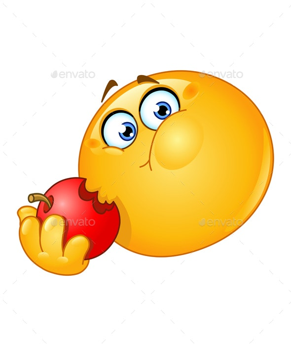 Emoticon Eating Apple - People Characters