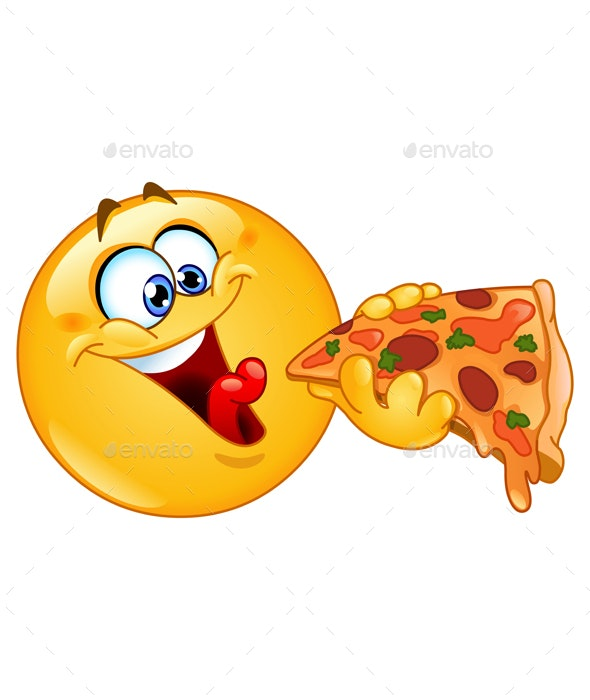 Emoticon Eating Pizza - Food Objects