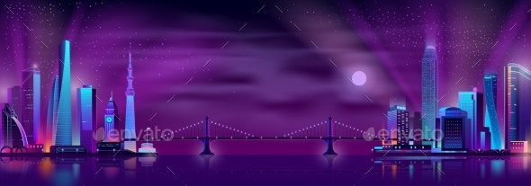 Bridge Connecting City Districts Cartoon Vector - Buildings Objects