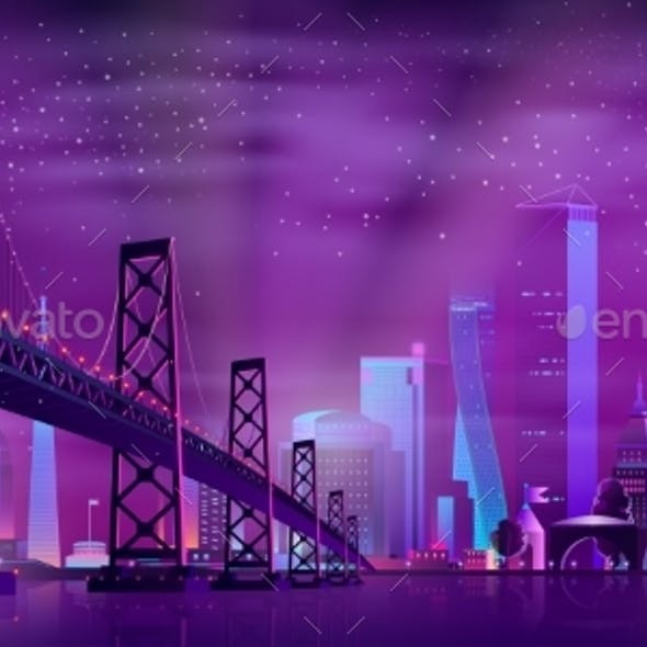 Vector Hinged Bridge to Amusement Park