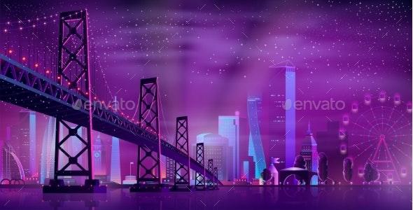 Vector Hinged Bridge to Amusement Park - Buildings Objects