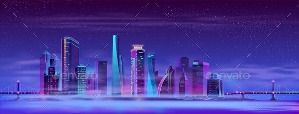 Vector Misty Megapolis Between Hinged Bridges - Buildings Objects