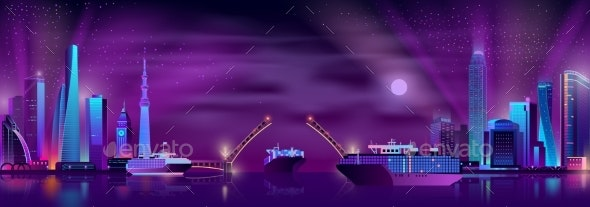 City Bay with Drawbridge Cartoon Vector Background - Buildings Objects