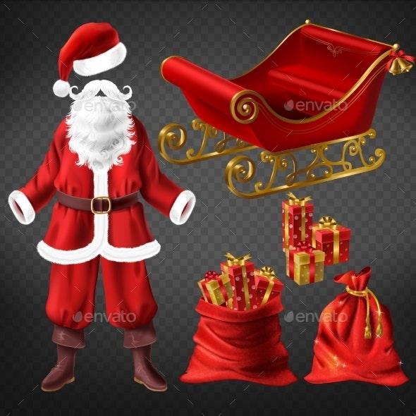 Santa Suit and Christmas Attributes Vector Set - Christmas Seasons/Holidays