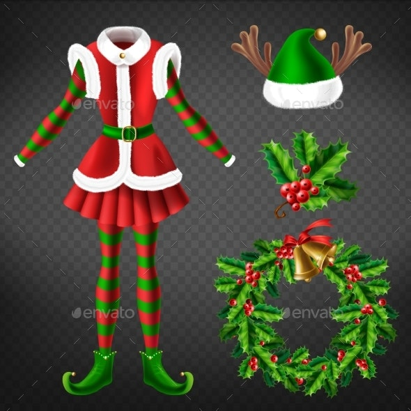 Christmas Celebration Attributes Vector Set - Christmas Seasons/Holidays