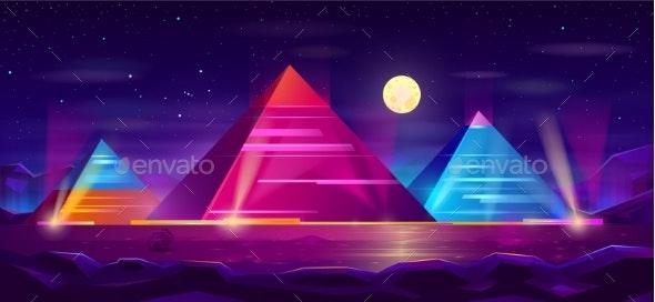 Egyptian Pyramids Night Landscape Cartoon Vector - Buildings Objects
