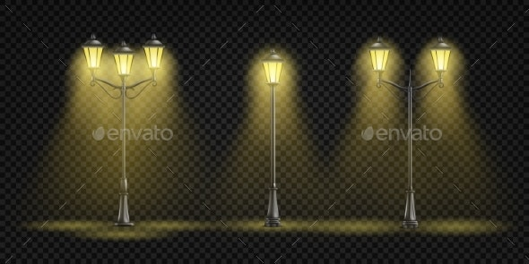 Retro Street Lights Lantern Realistic Vector Set - Man-made Objects Objects
