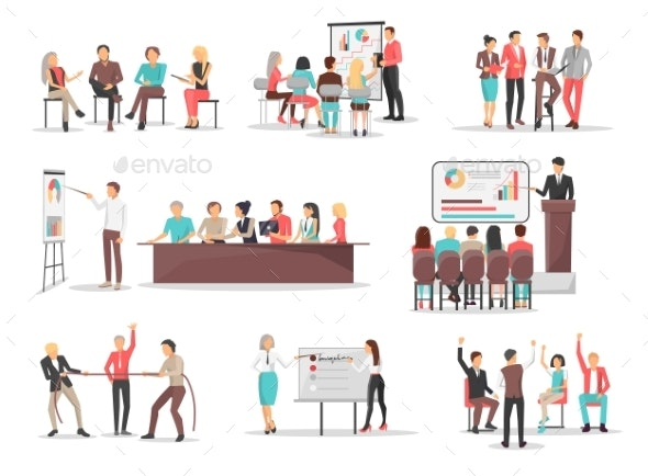 Office Team Building Concepts Illustrations Set - Concepts Business