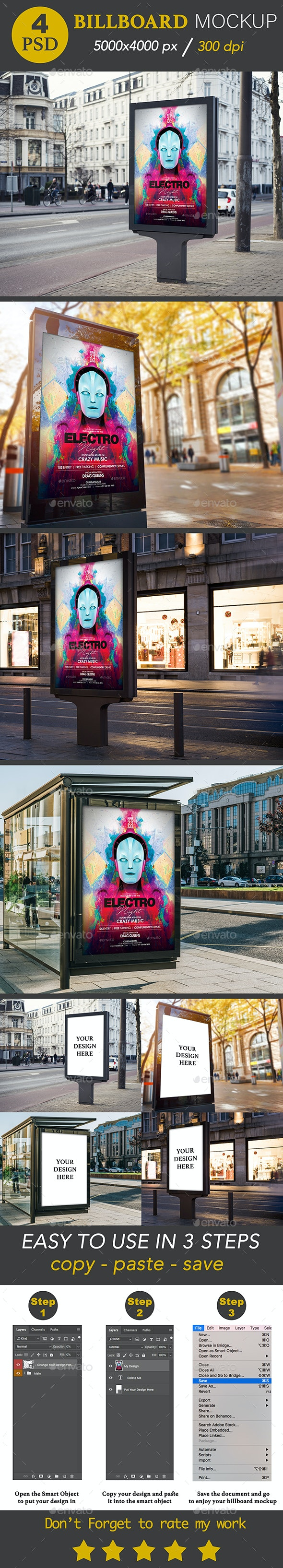 4 Realistic Billboard Mockup - Posters Print