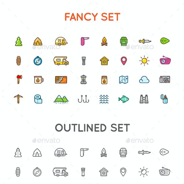 Outdoor Camping Icons and Logo Set