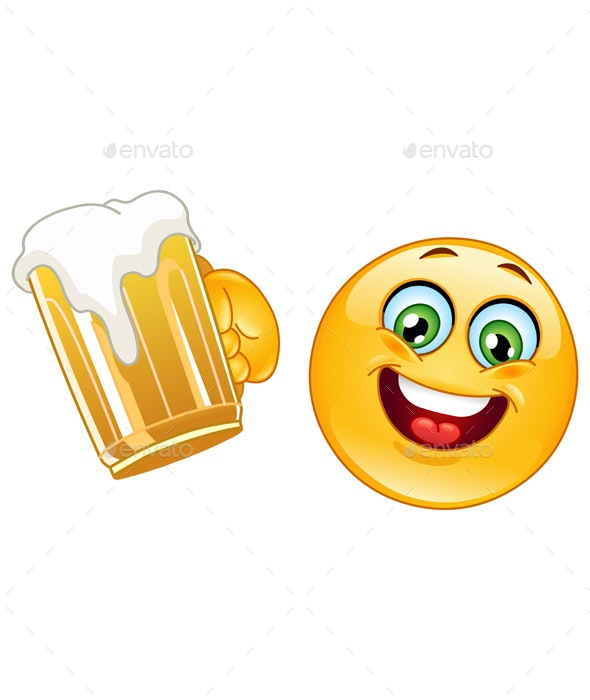 Emoticon with Beer - People Characters