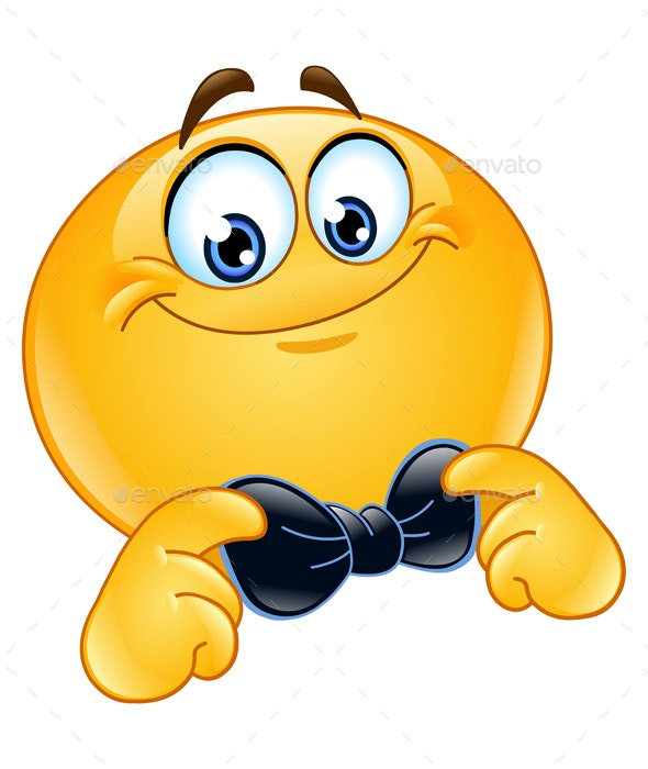Emoticon with Bow Tie - People Characters