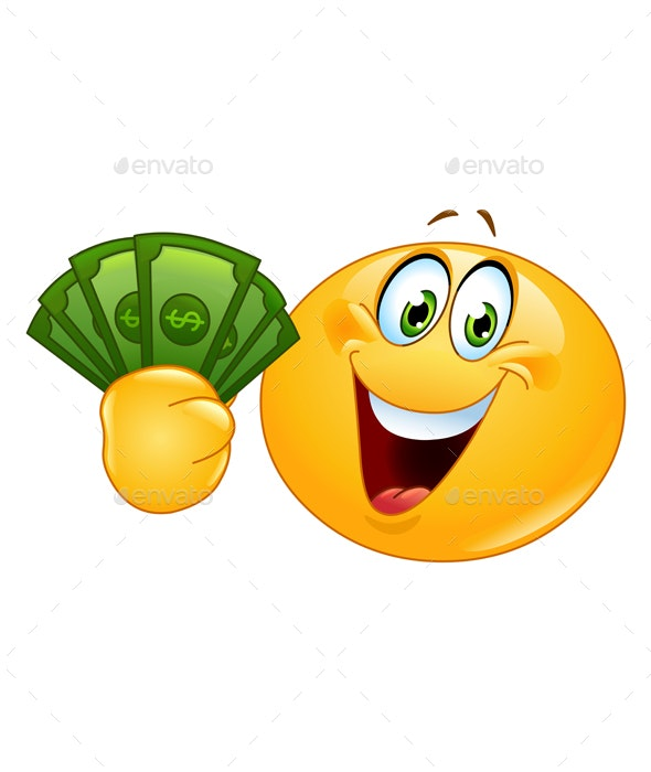 Emoticon with Dollars - People Characters