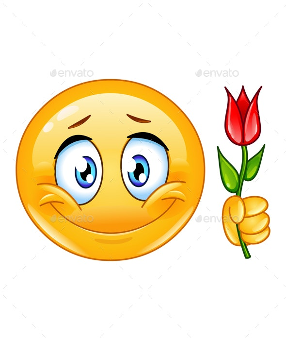 Emoticon with Flower - People Characters
