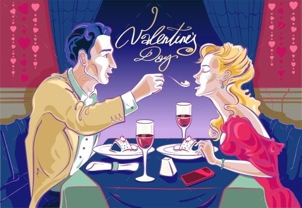 Couple Dines in an Elegant Restaurant - Valentines Seasons/Holidays