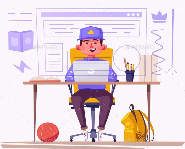 Student or Schoolboy Studying at the Computer - Miscellaneous Vectors