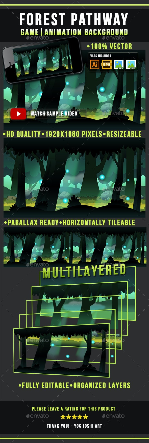 Forest Pathway Game Background Side Scrolling - Backgrounds Game Assets
