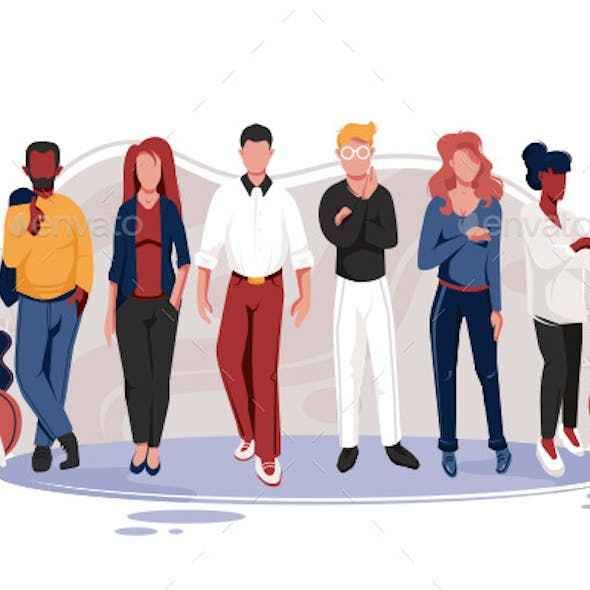 Flat Team with Men and Women with Glasses