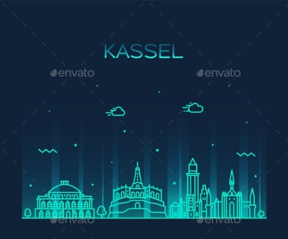 Kassel Skyline Northern Hesse Germany Vector Line - Buildings Objects