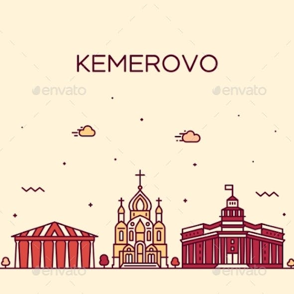 Kemerovo Skyline Russia Vector Linear Style City