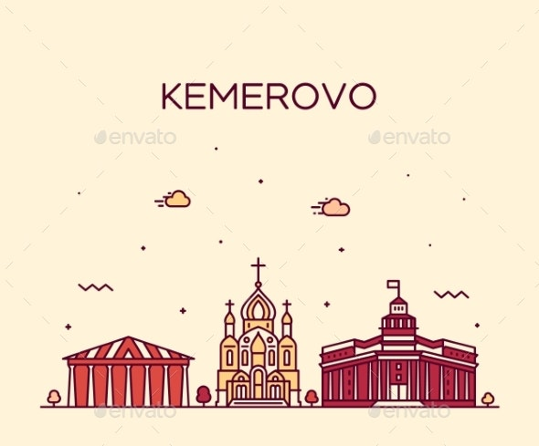 Kemerovo Skyline Russia Vector Linear Style City - Buildings Objects