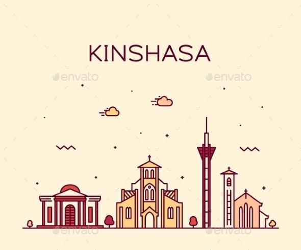 Kinshasa Skyline Congo Vector City Linear Style - Buildings Objects