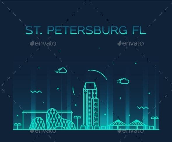St Petersburg Skyline Pinellas Florida USA Vector - Buildings Objects