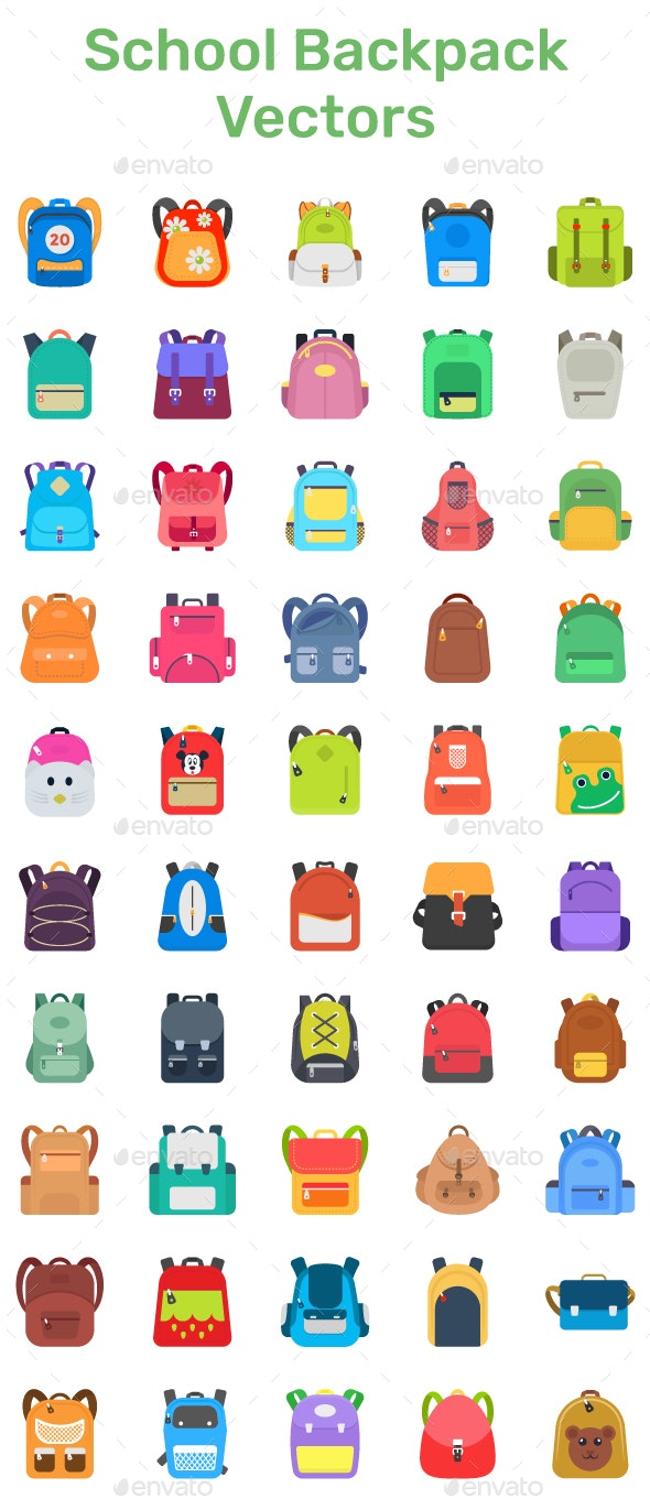 50 Flat School Backpack Vector Icons - Icons