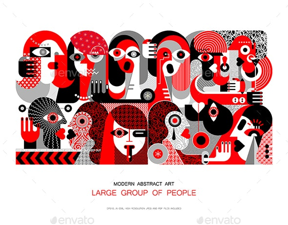 Large Group of People Illustration - People Characters
